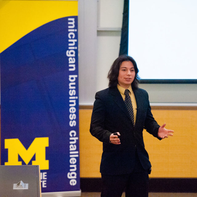Ramses Alcaide makes his pitch at the Michigan Business Challenge.