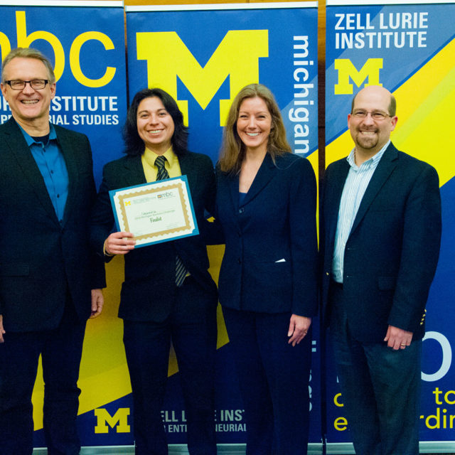 Jim Price, ZLI Entrepreneur in Residence and Entrepreneurial Studies faculty, Ramses Alcaide, Anne Perigo, associate director of ZLI, and Josh Botkin, ZLI Entrepreneur in Residence and Entrepreneurial Studies faculty at the Michigan Business Challenge.